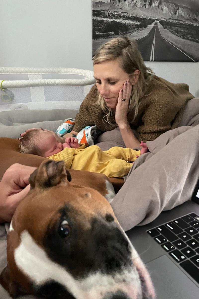 Joe Hawley's wife Sarah Hawley with son and dog named Freedom