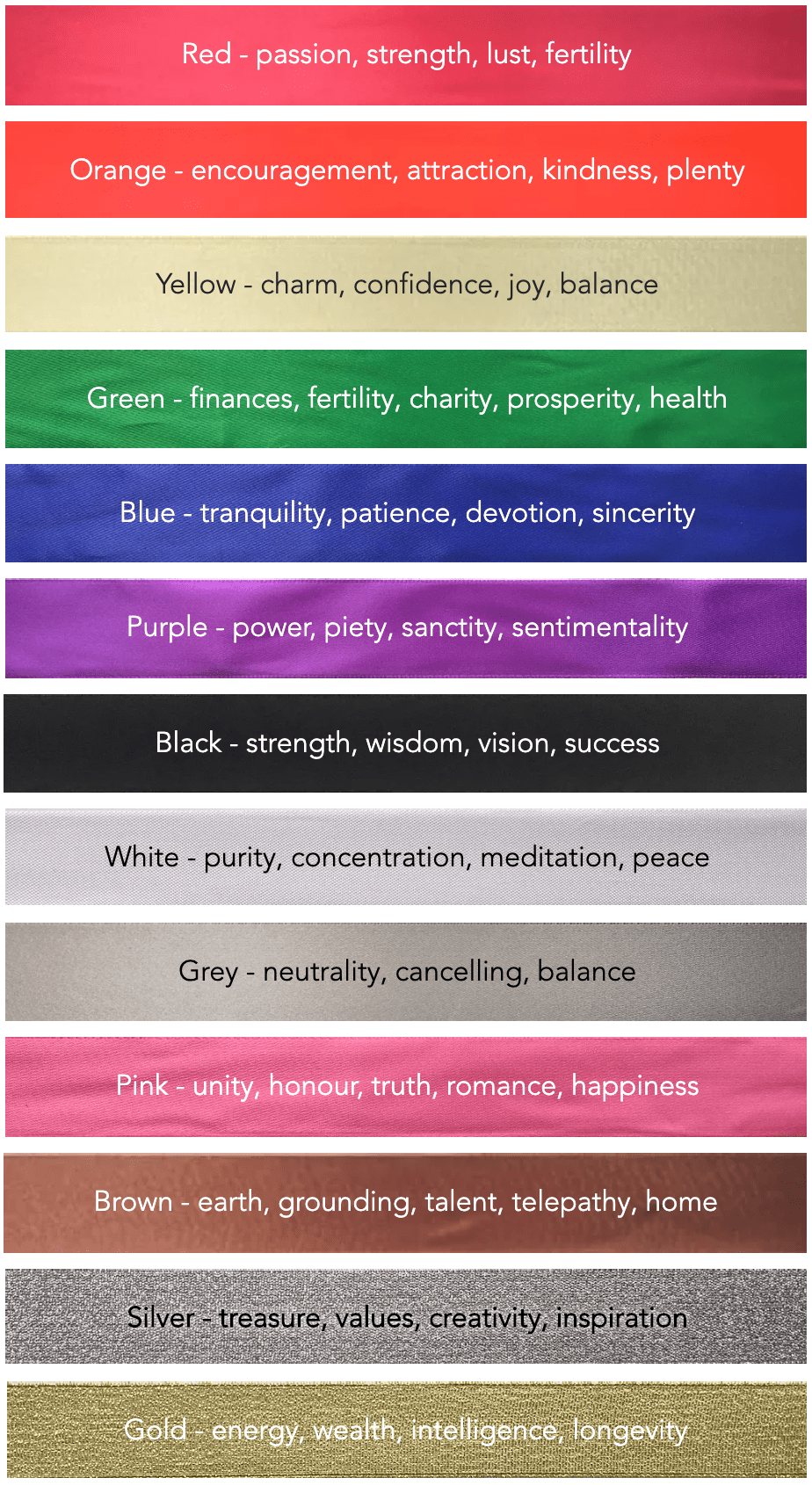 Handfasting Colours and Meanings