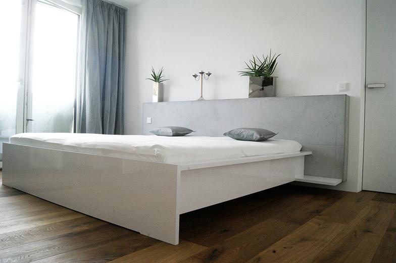 Schlafzimmer in Betonoptik.