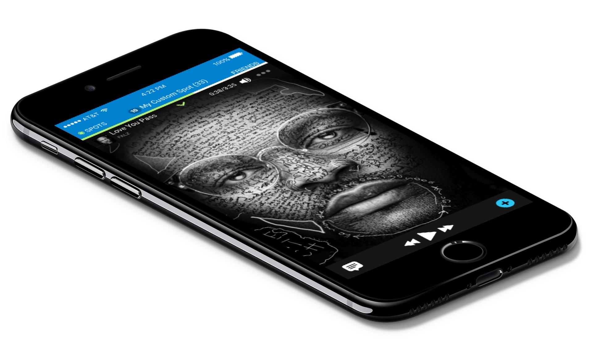 iOS application UI for Sunspot music app