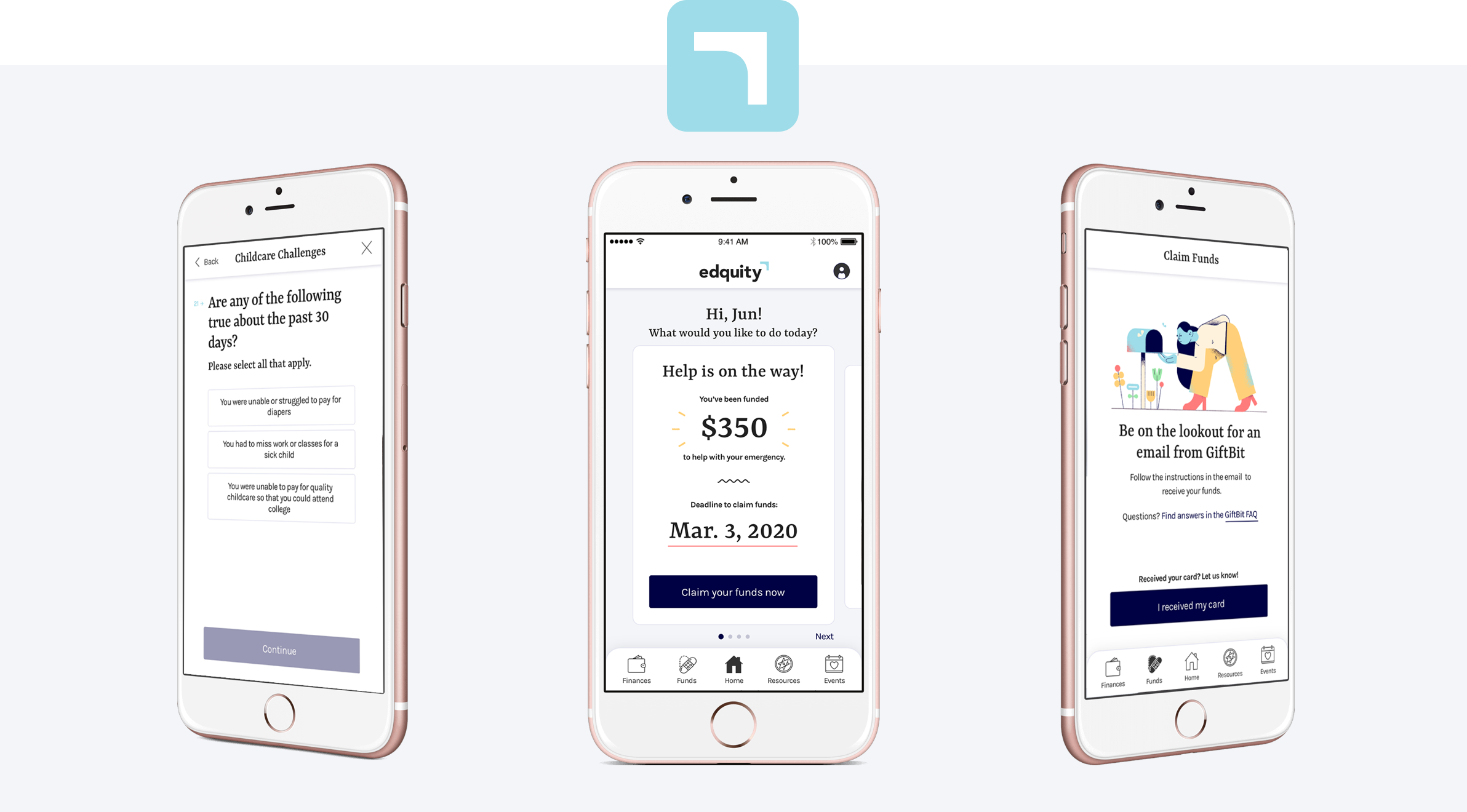 A display of 3 phone mockups showing the Edquity app