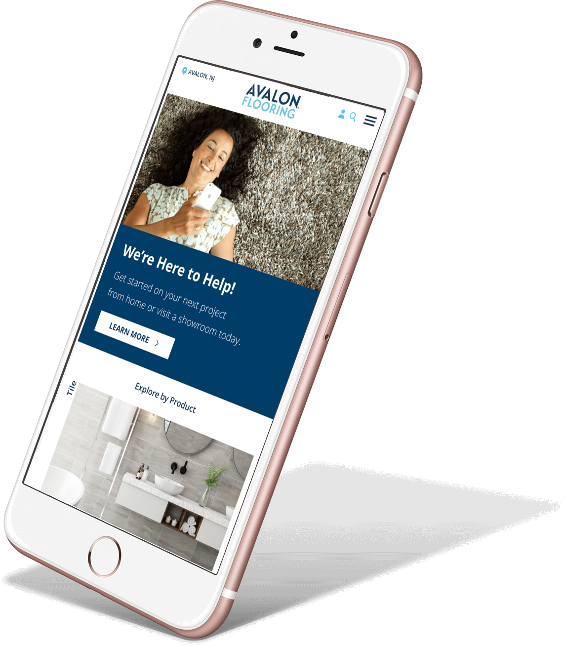 Phone mockup with Avalon Flooring homepage