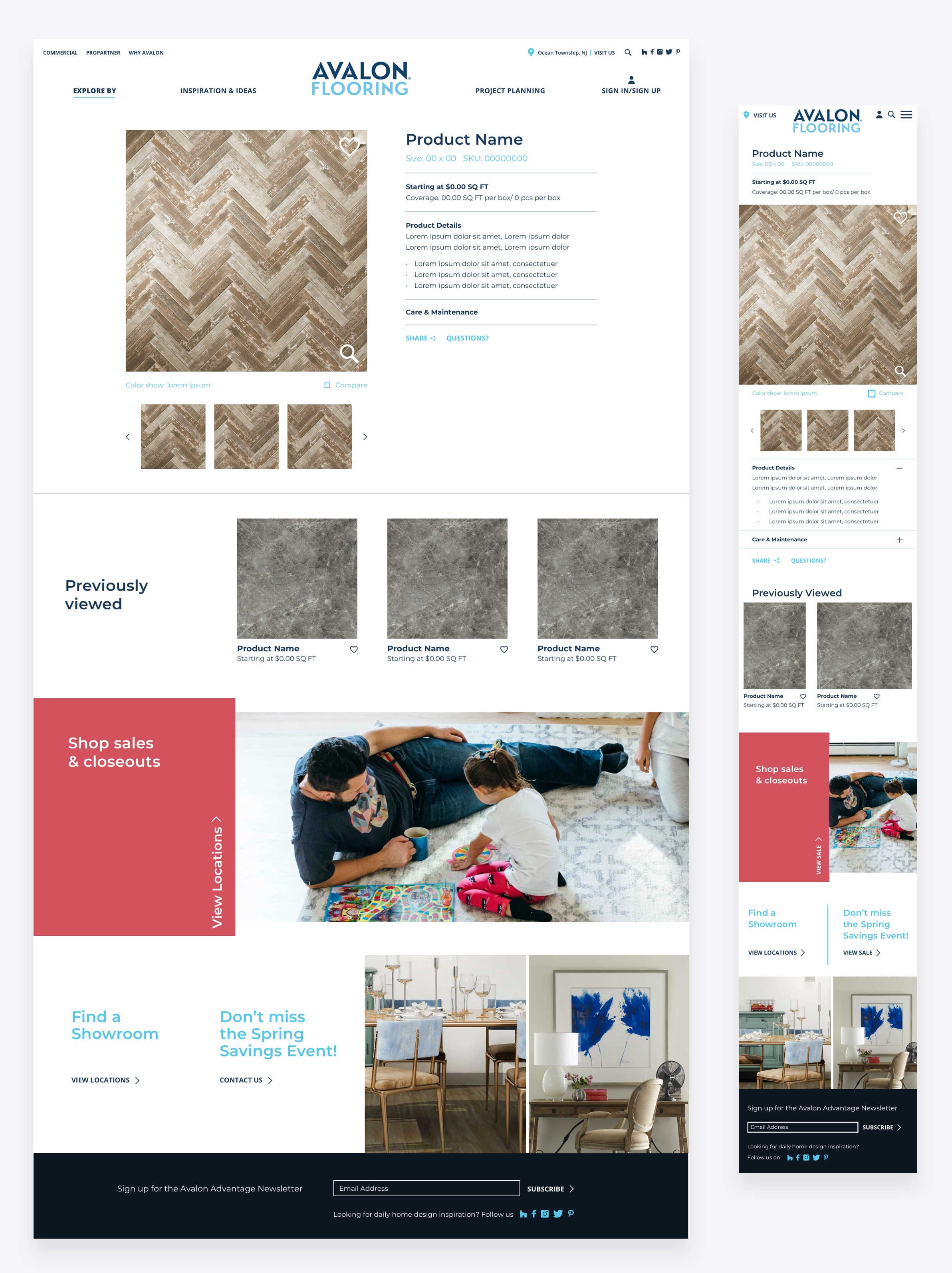 High-fidelity final design of the Avalon Flooring product page