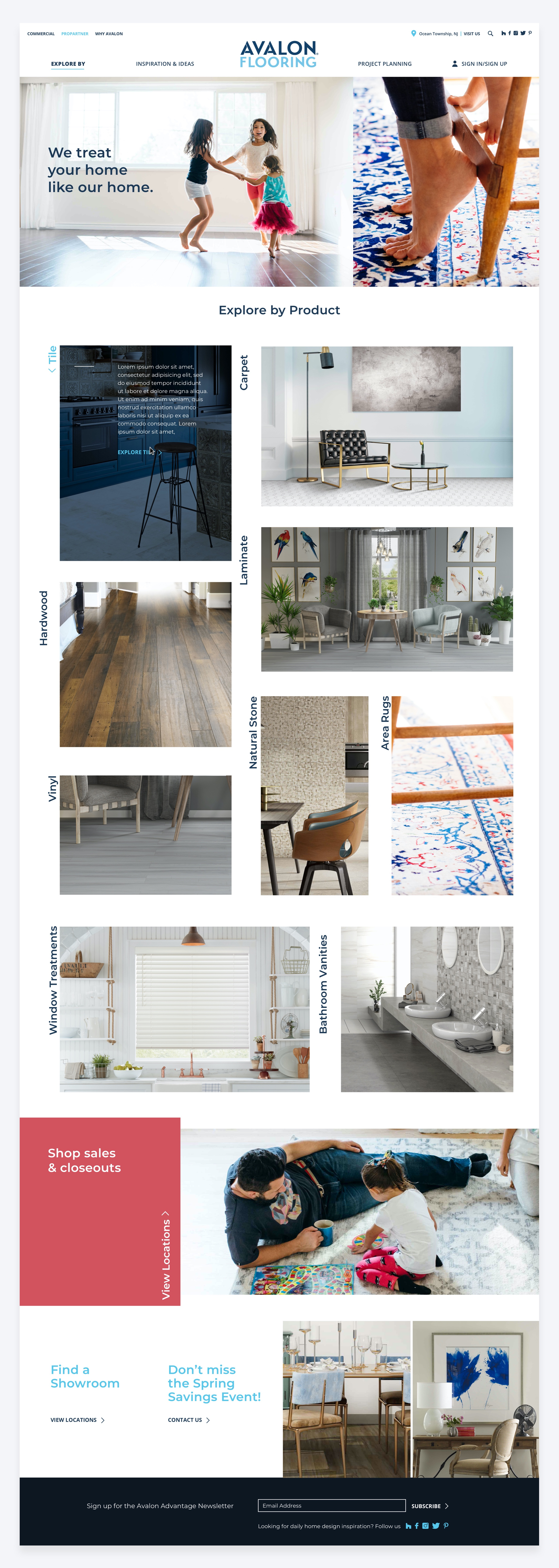 High-fidelity final design of the Avalon Flooring homepage