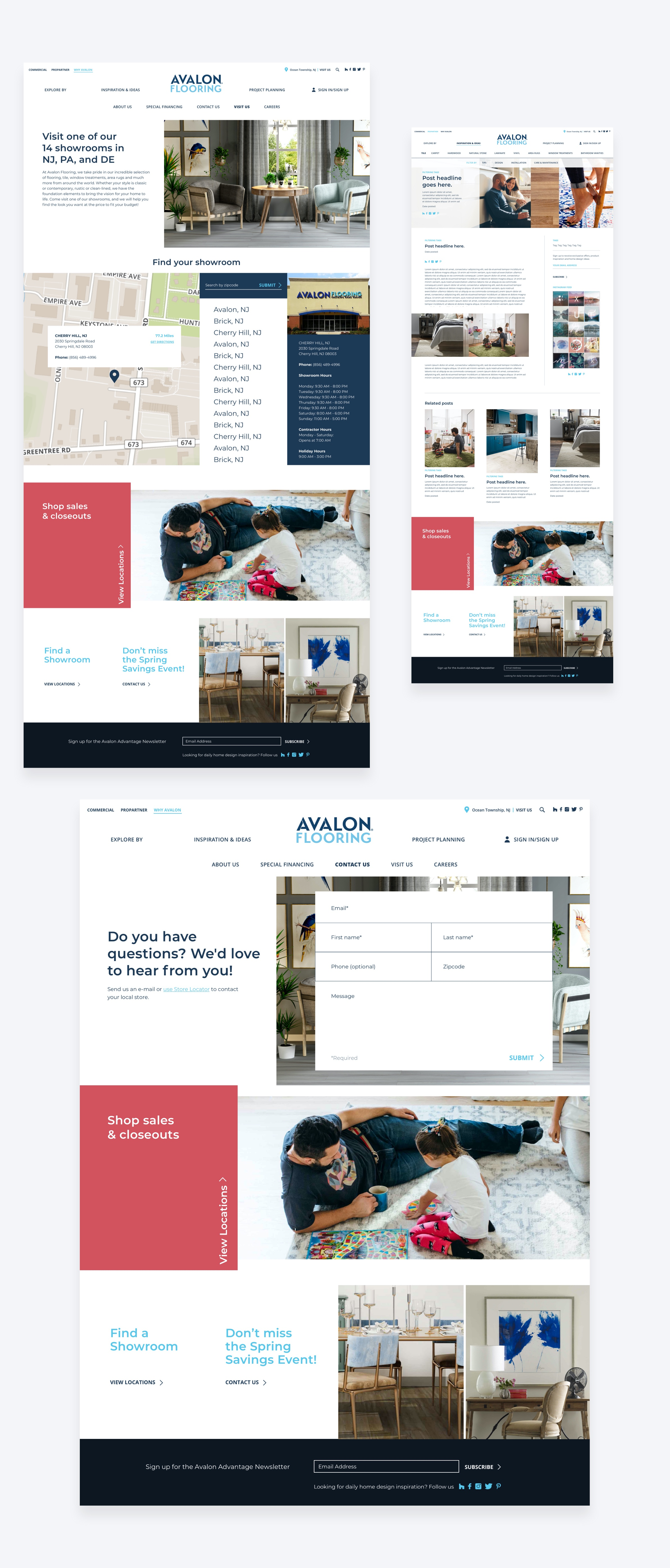 High-fidelity final design of the Avalon Flooring locations page