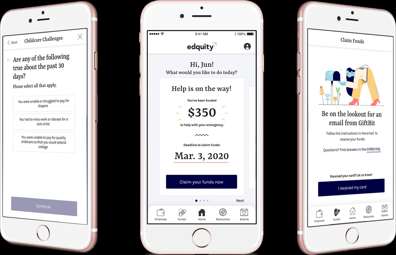 Phone mockup with Edquity app