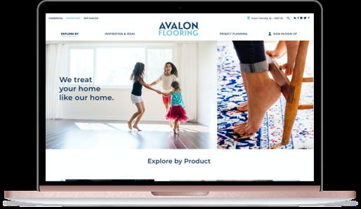 Desktop mockup with Avalon Flooring desktop
