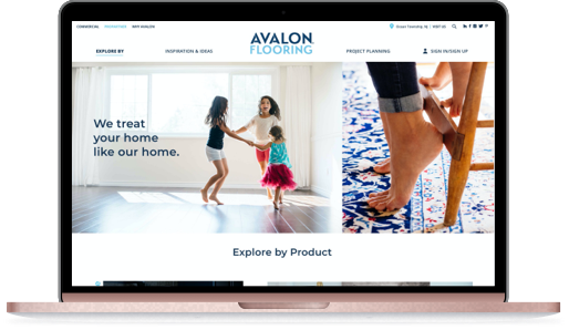 Desktop mockup with Avalon Flooring website