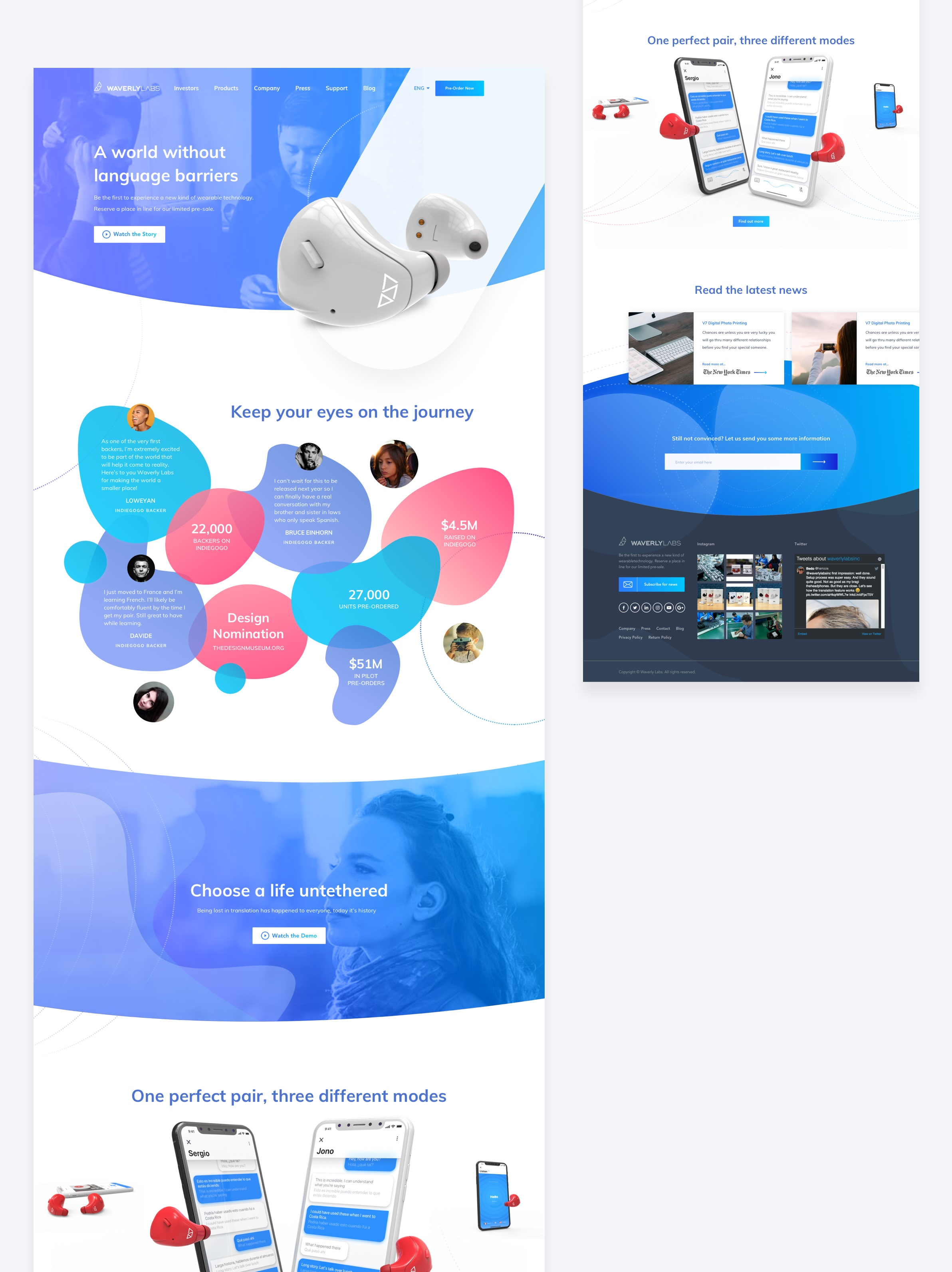 Colorful proposal for Waverly Labs redesigned landing page