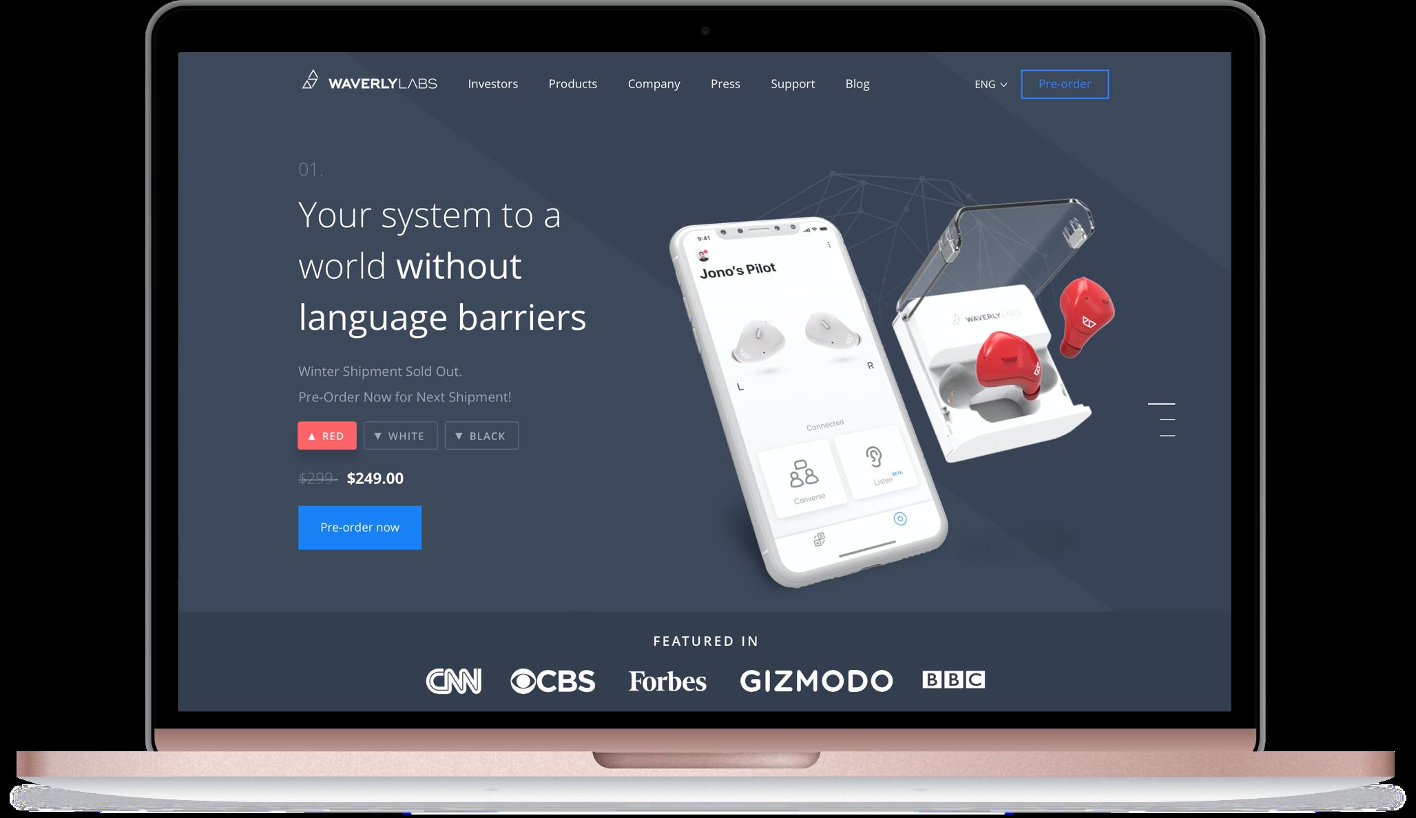 Desktop mockup of Waverly Labs homepage