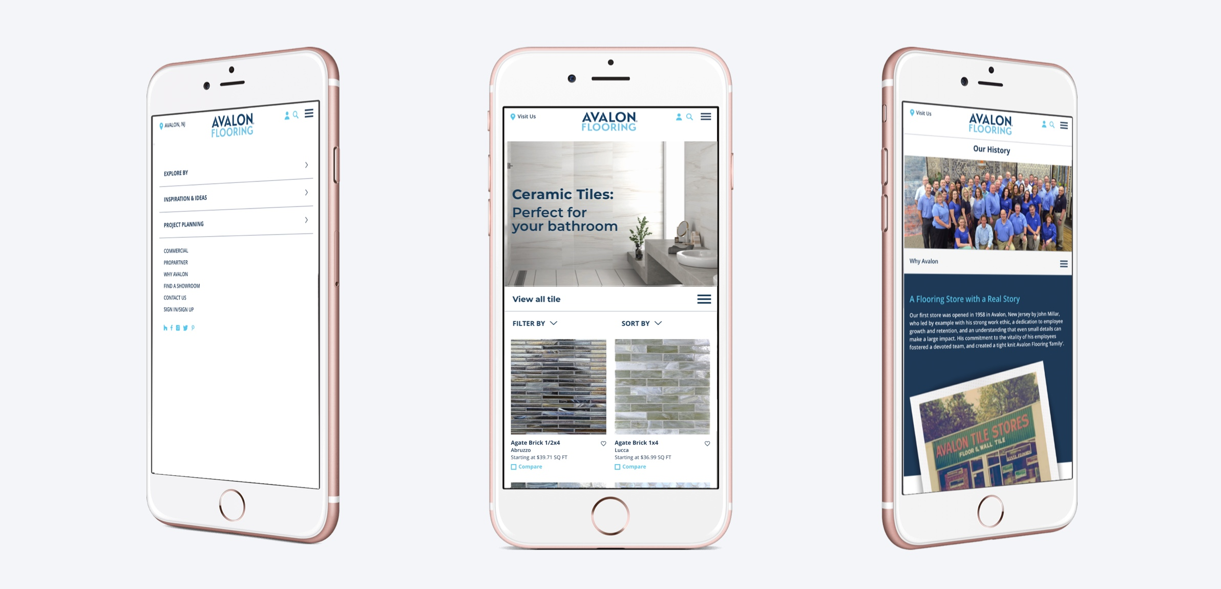 Phone display showing 3 screens from the Avalon Flooring website