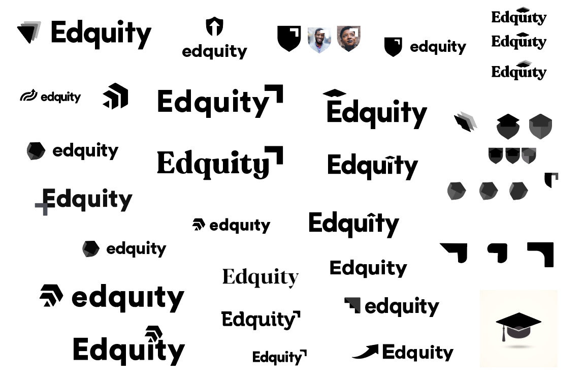 A collage of unused brand marks in black.