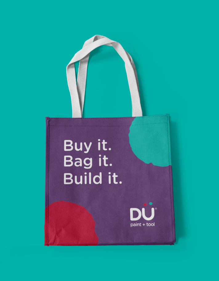 Creative Caterpillar client Dü Paint and Tool tote bag.