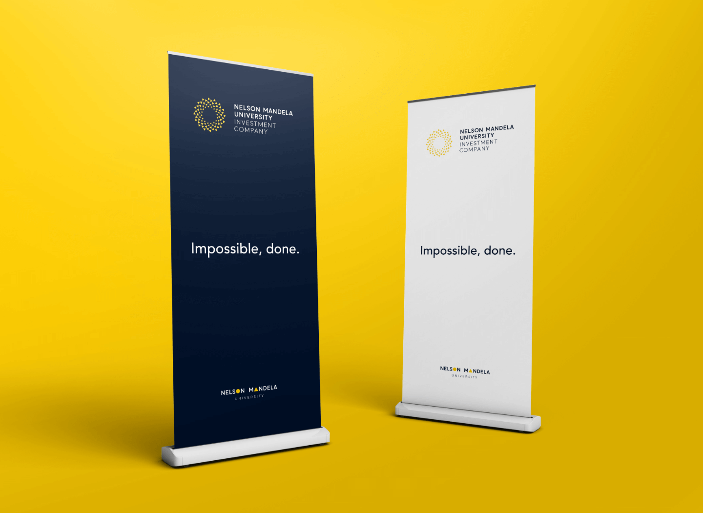 Creative Caterpillar client Nelson Mandela University Investment Company pull-up banners.