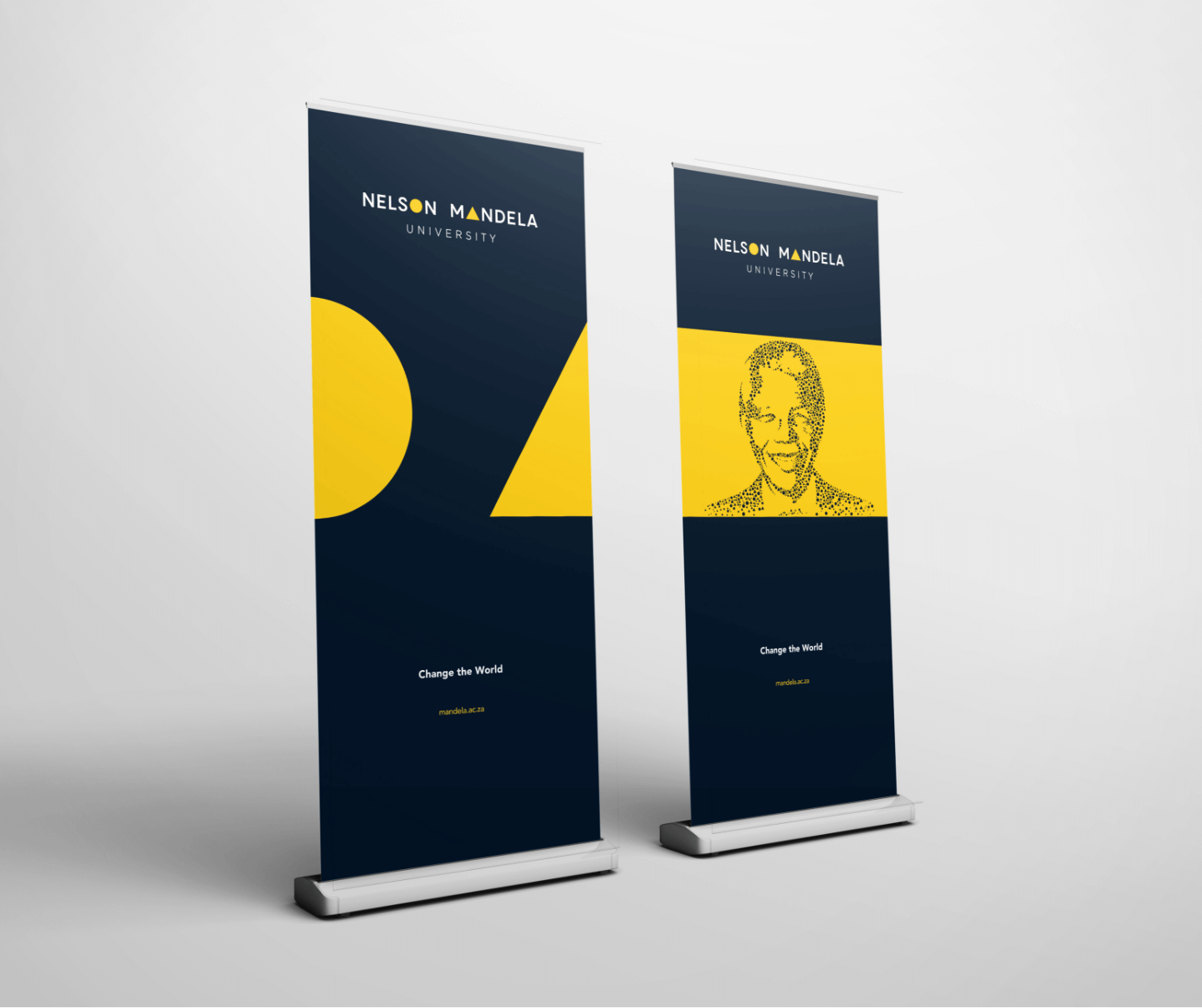 Creative Caterpillar client Nelson Mandela University pull up banners application.