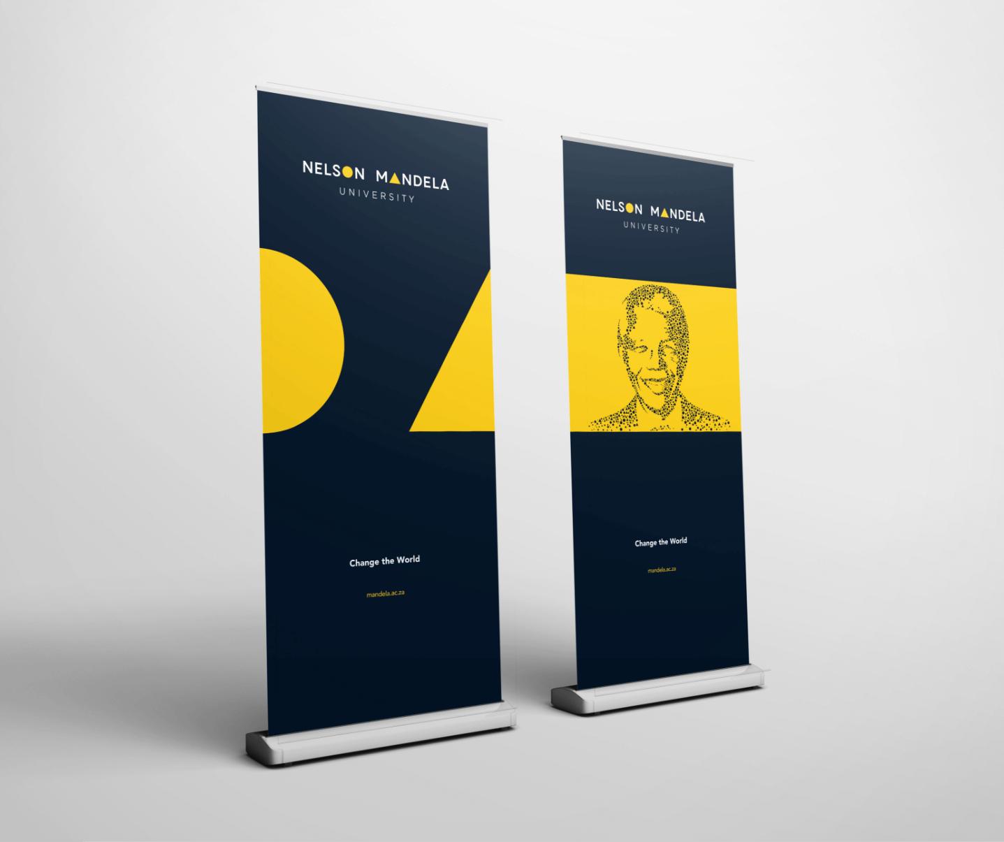 Creative Caterpillar client Nelson Mandela University pull up banners application.