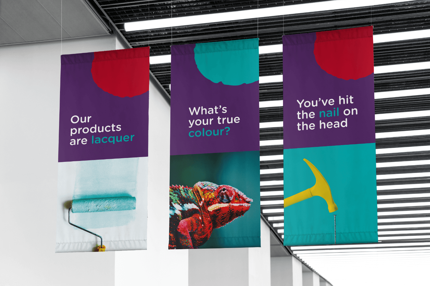 Creative Caterpillar client Dü Paint and Tool ceiling banners.