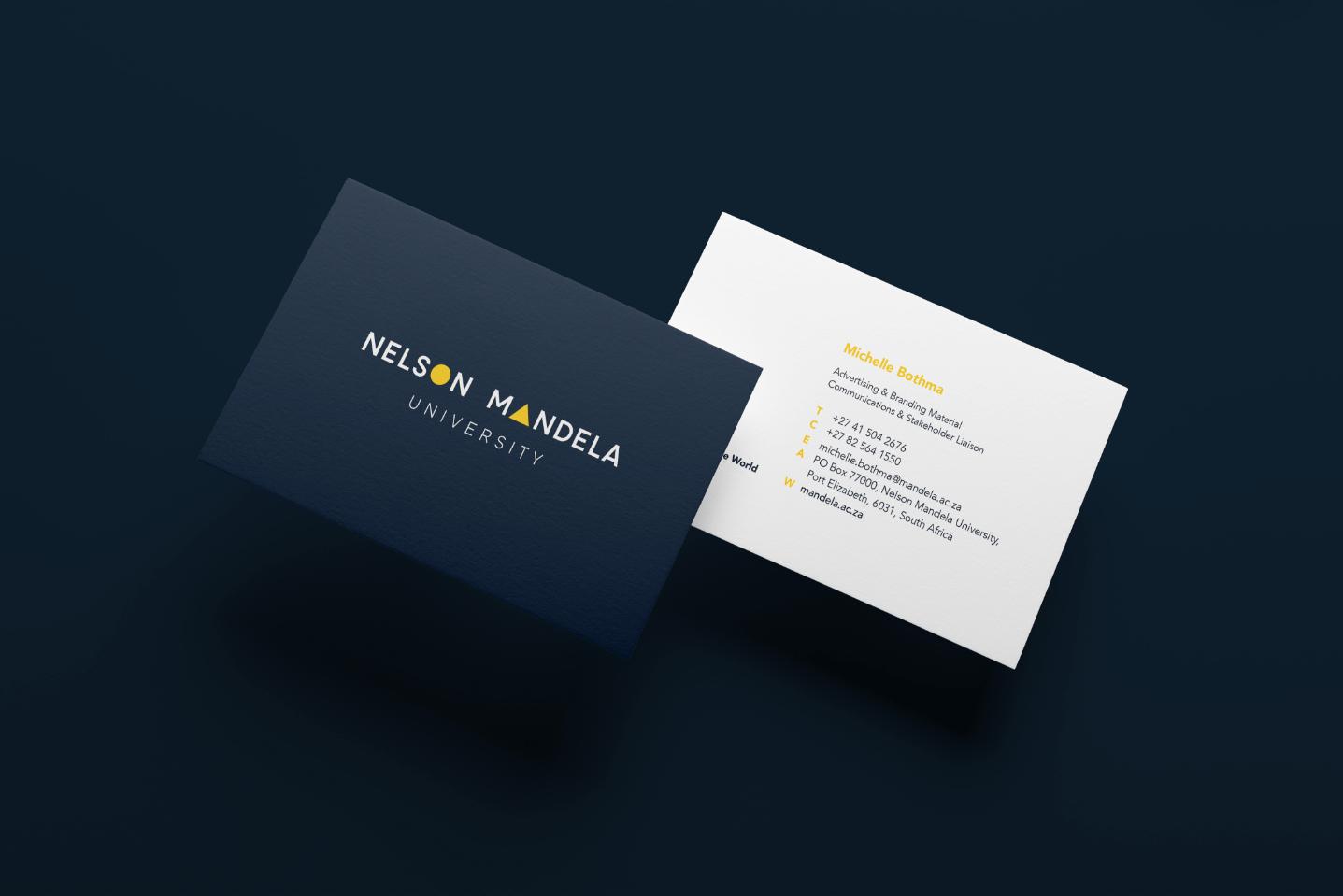 Creative Caterpillar client Nelson Mandela University business cards.