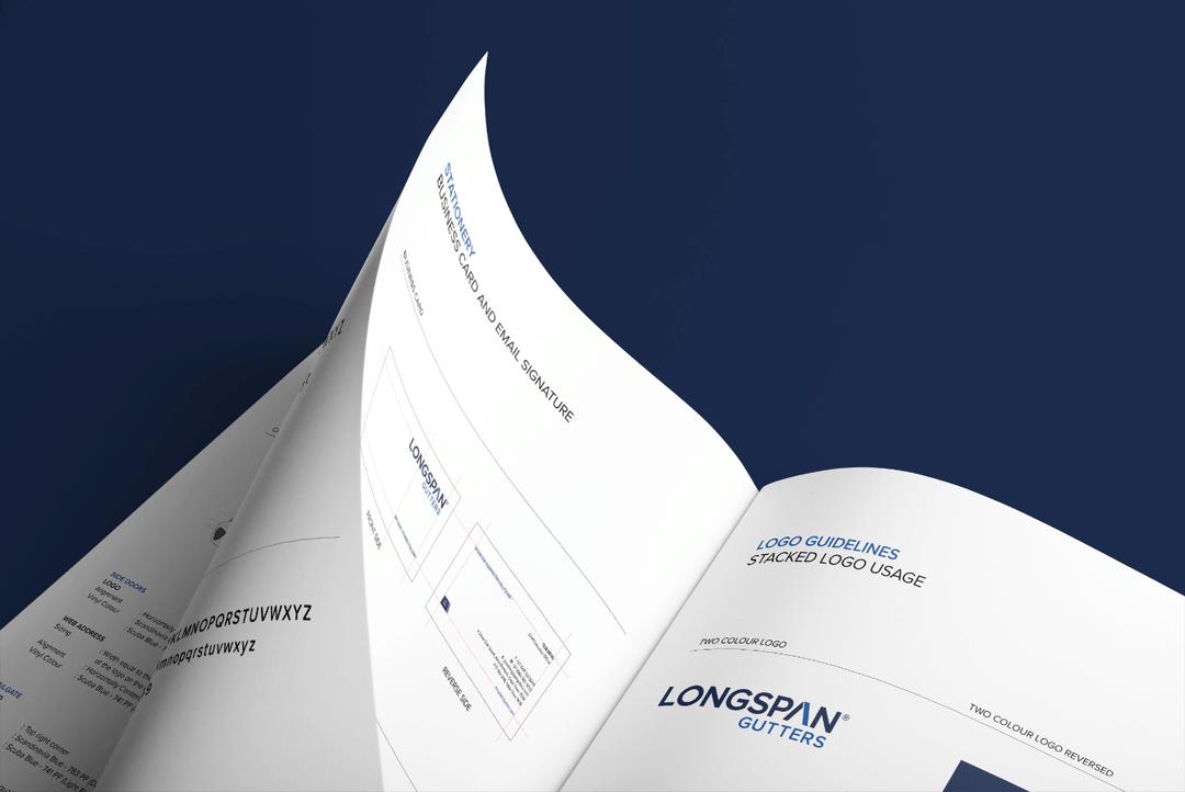 Creative Caterpillar client Longspan Gutters - brand manual.