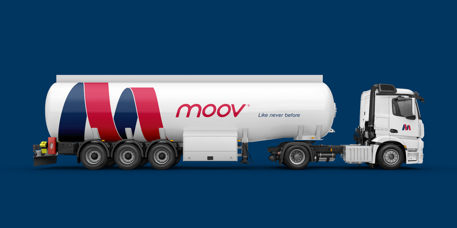 Creative Caterpillar client MOOV truck logo application.