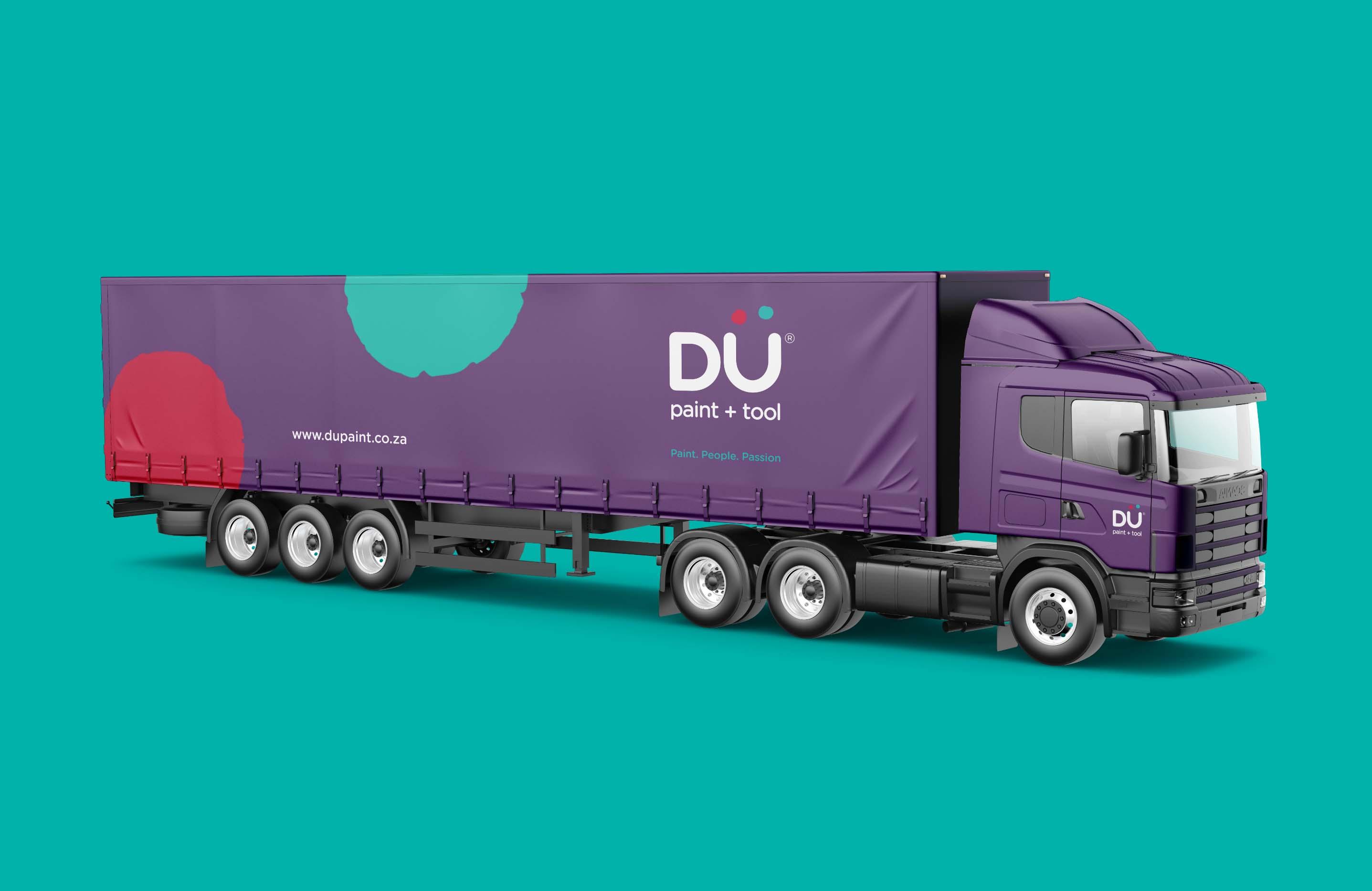 Creative Caterpillar client Dü Paint and Tool truck logo application