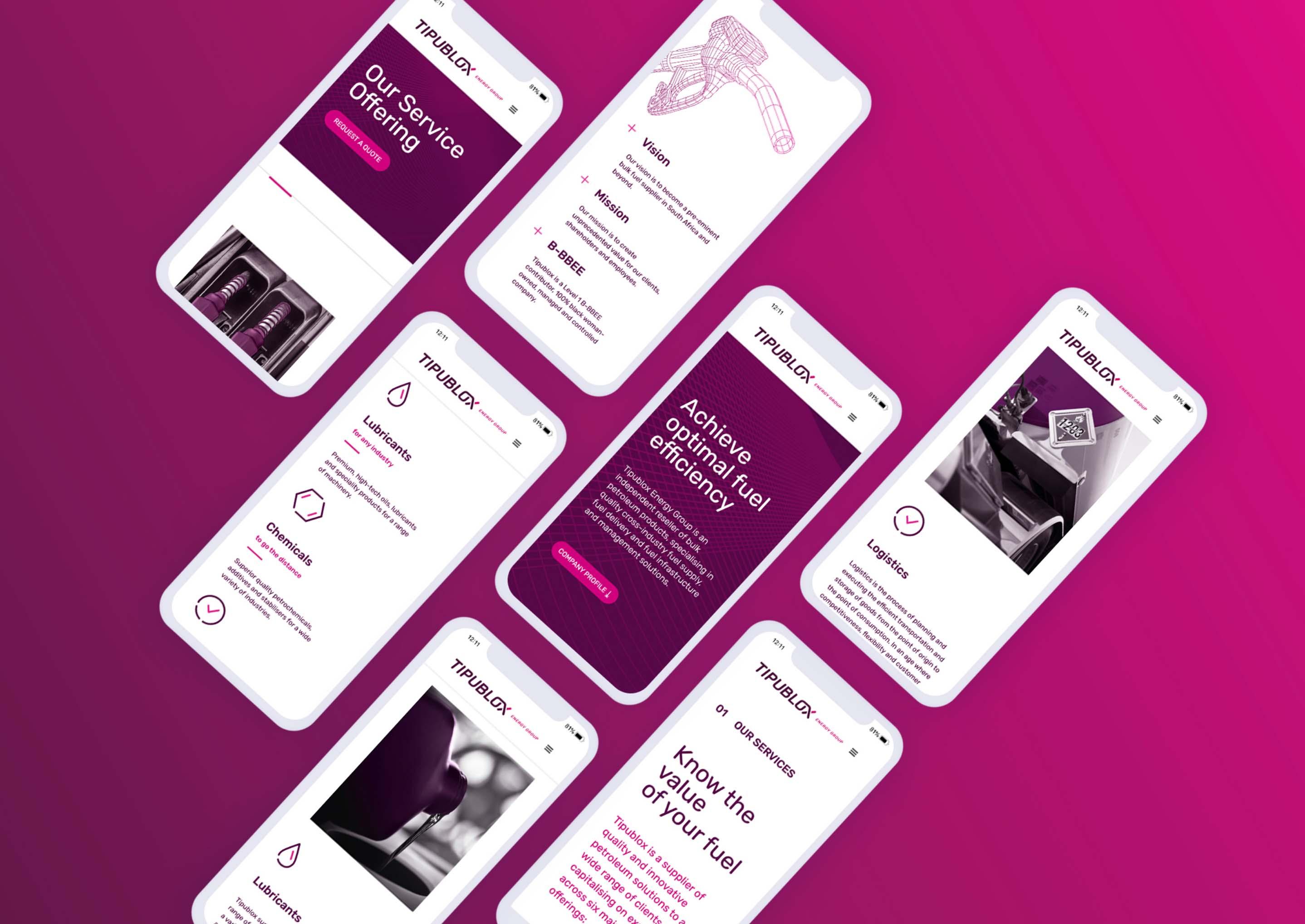 Creative Caterpillar client Tipublox Energy Group mobile website.