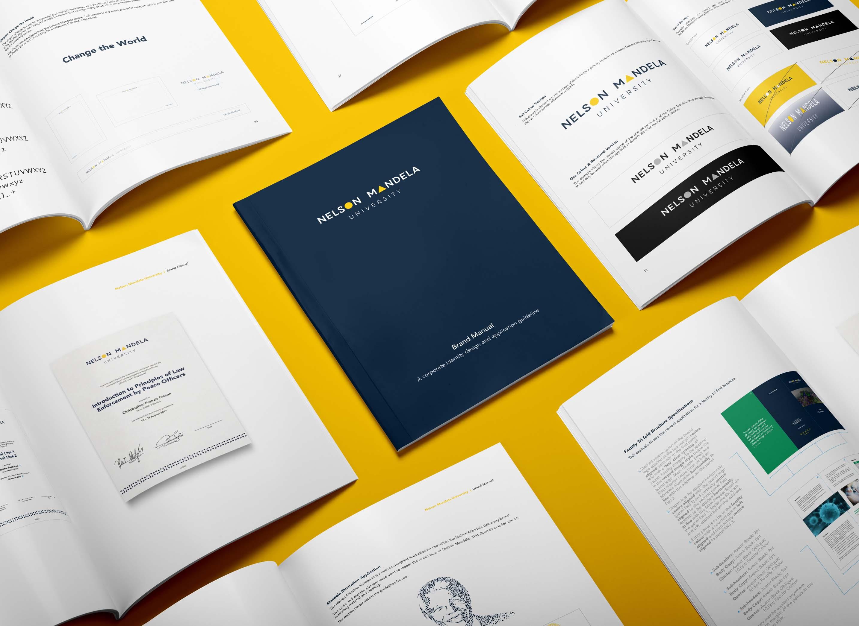 Creative Caterpillar client Nelson Mandela University brand manual.