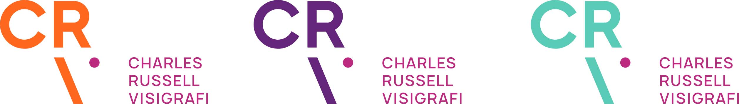 Creative Caterpillar client Charles Russell Visigrafi stacked logo colour combinations.
