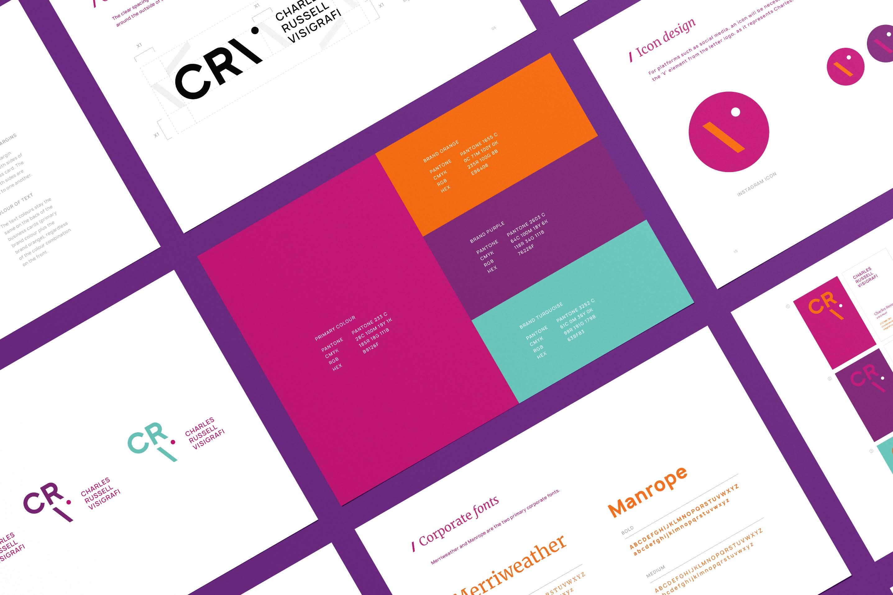 Creative Caterpillar client Charles Russell Visigrafi brand manual.