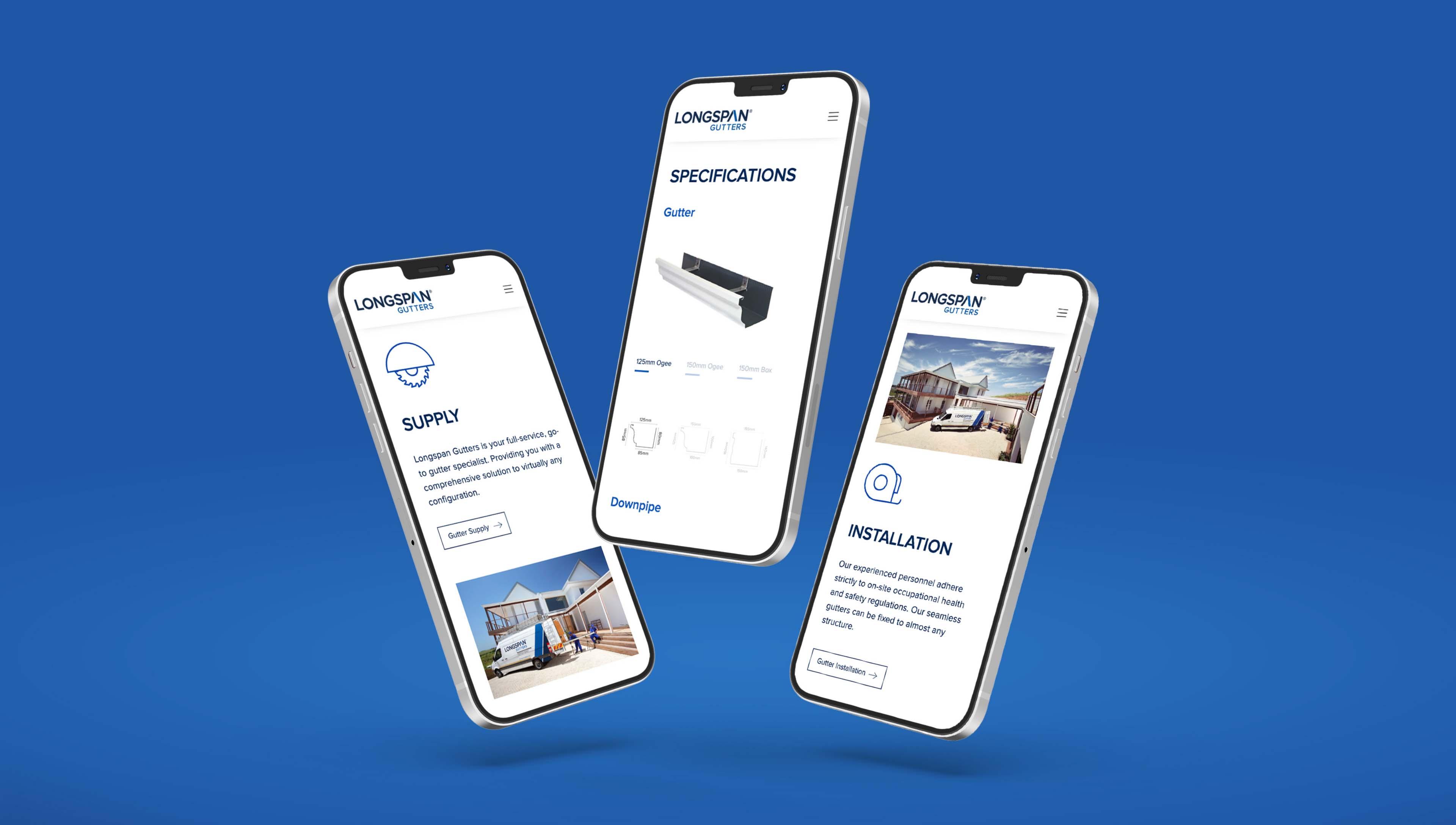 Creative Caterpillar client Longspan Gutters - mobile website.