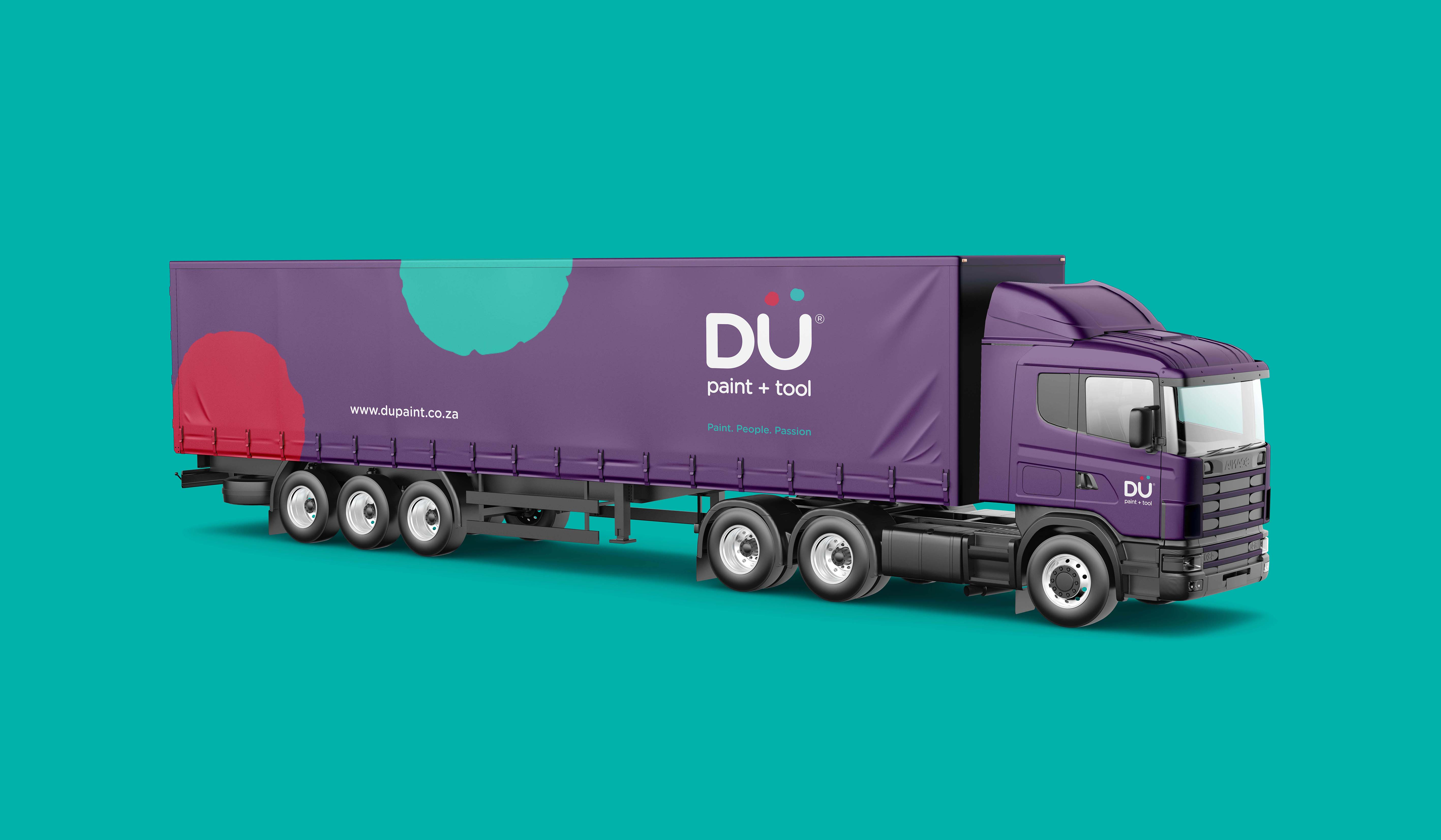 Creative Caterpillar client Dü Paint and Tool truck logo application.
