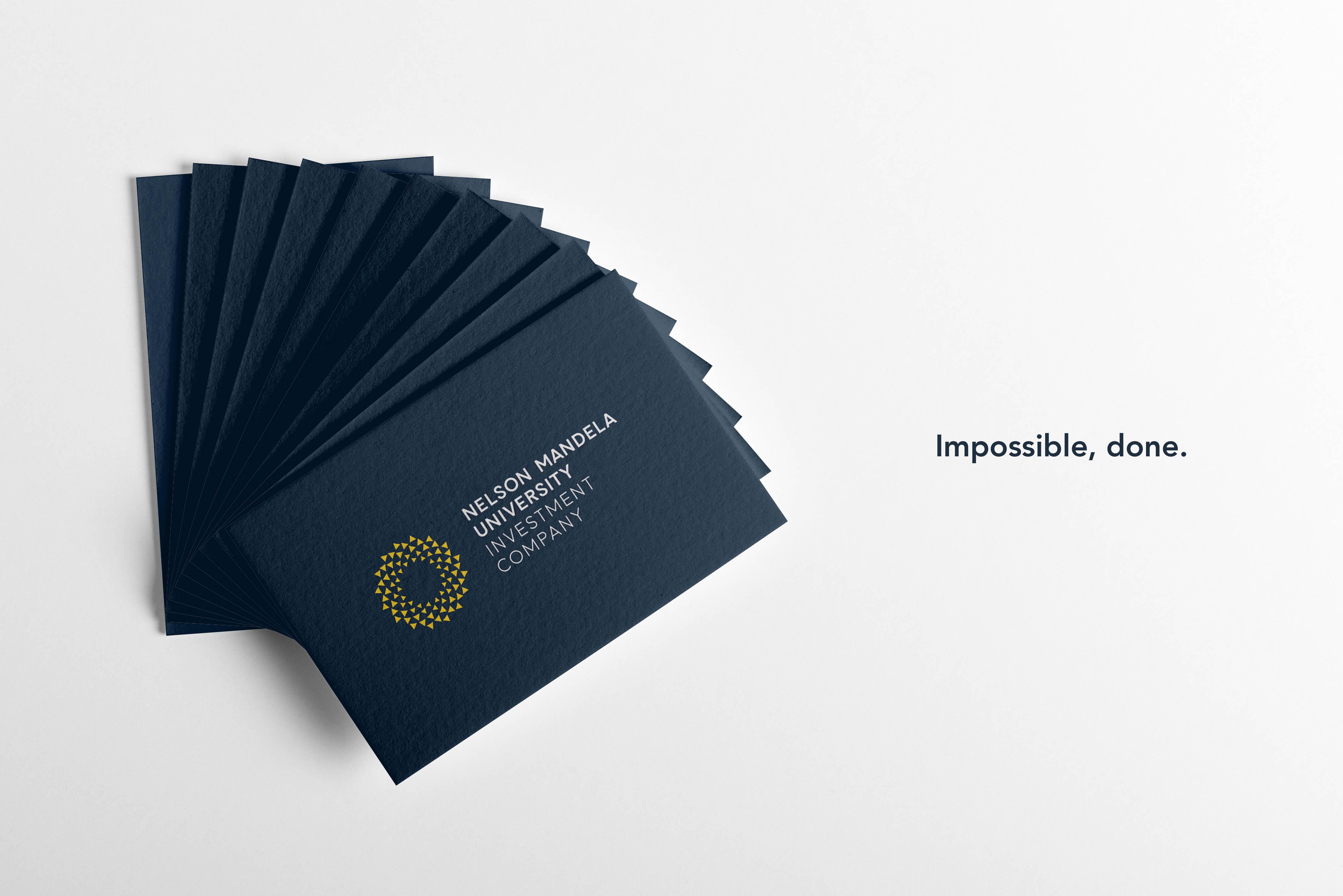 Creative Caterpillar client Nelson Mandela University Investment Company business cards.