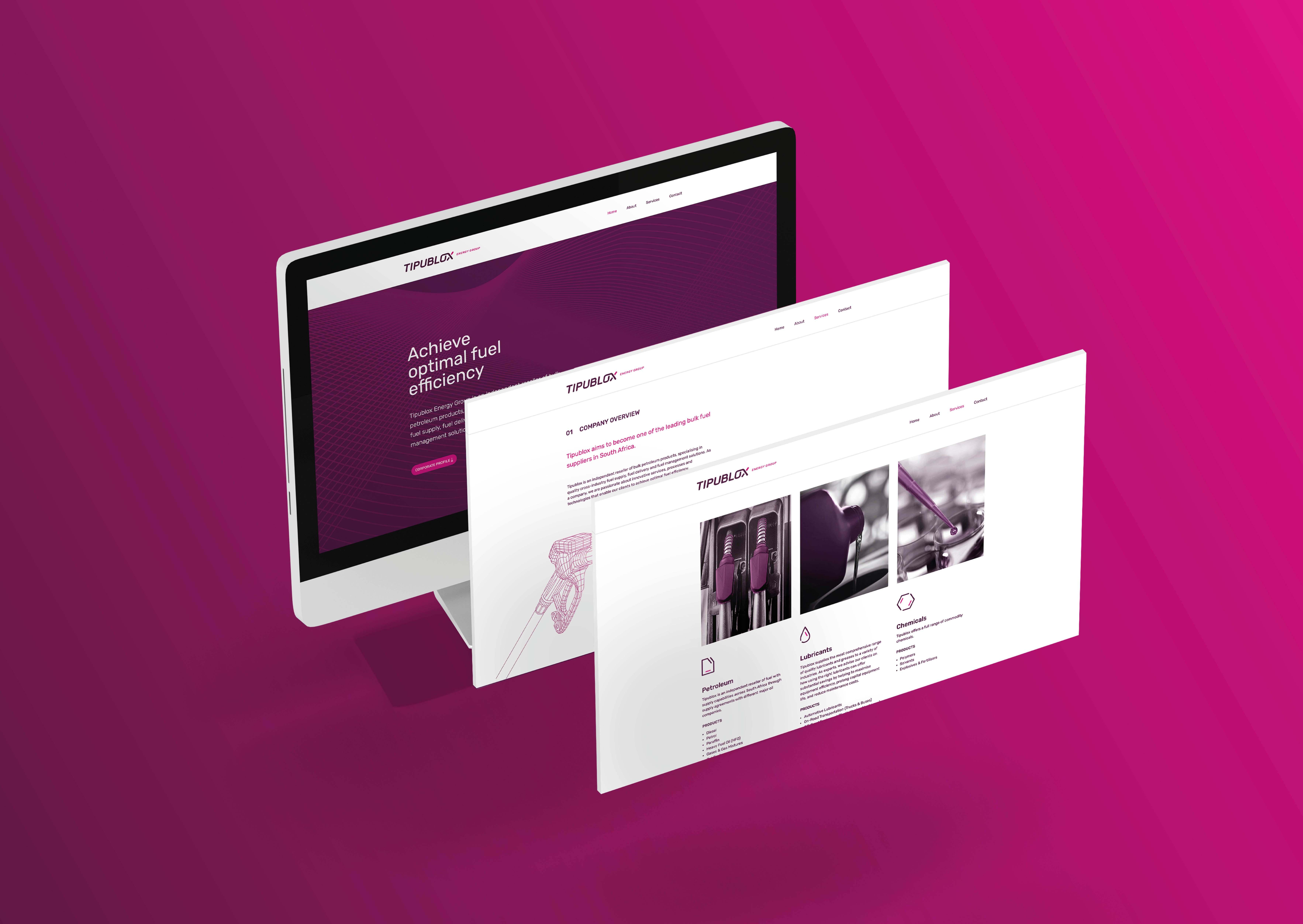 Creative Caterpillar client Tipublox Energy Group desktop website.