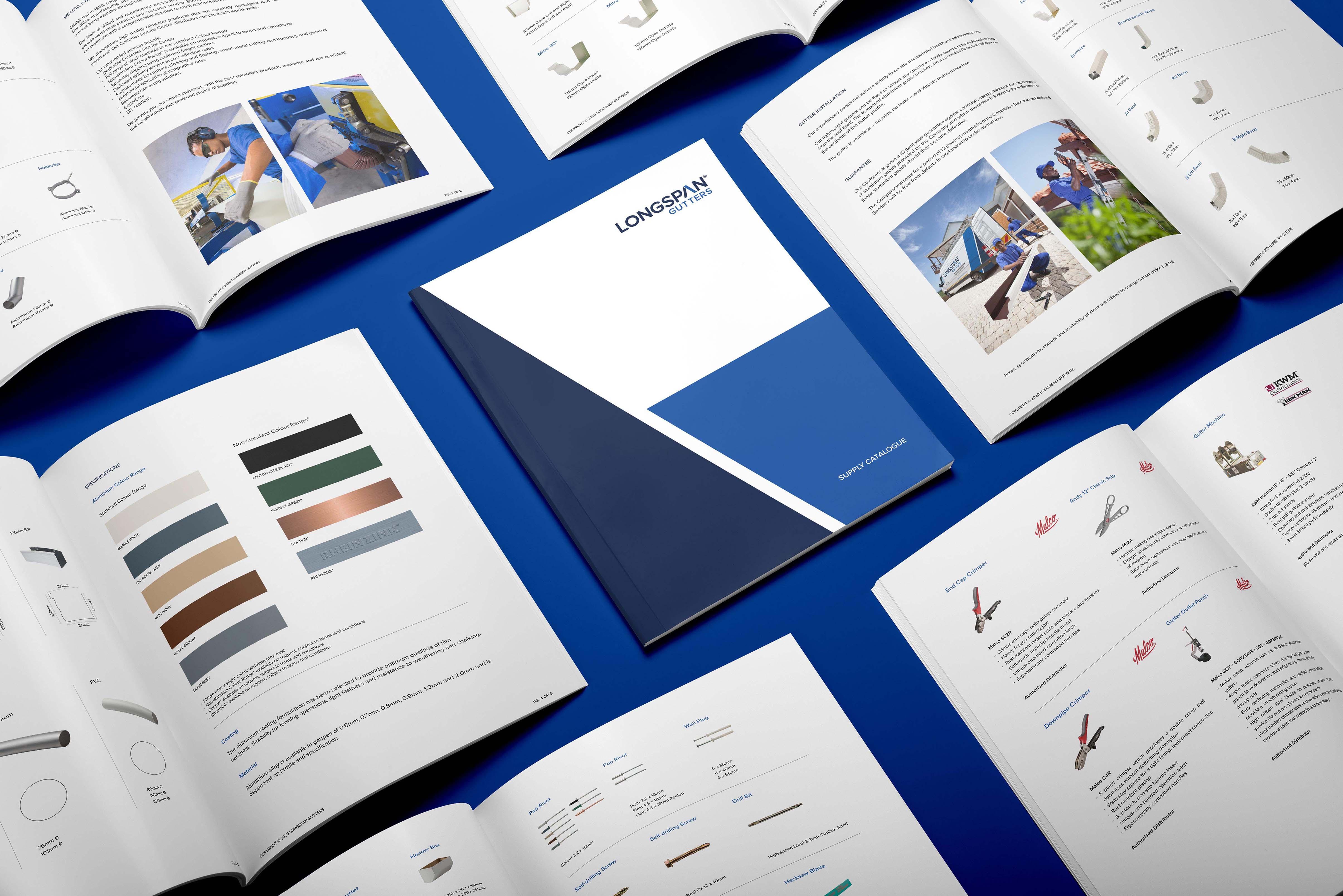Creative Caterpillar client Longspan Gutters  Supply Catalogue.