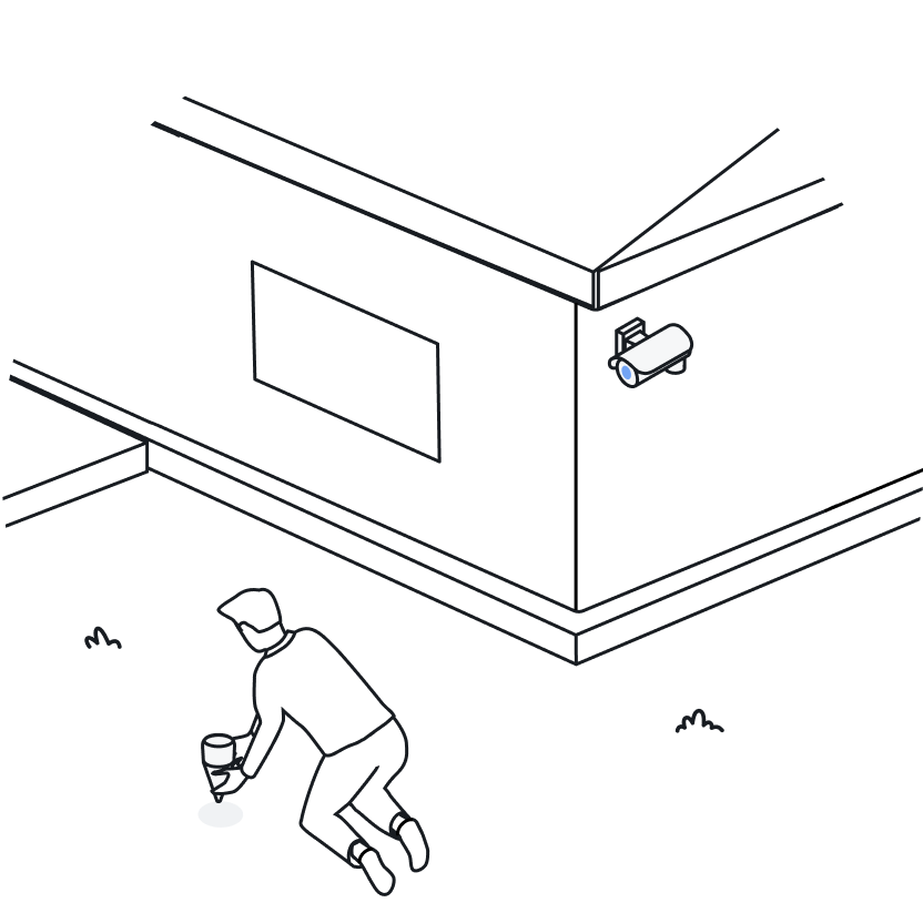 Illustration of a men burying the Ground Sensor and a camera pointed at him