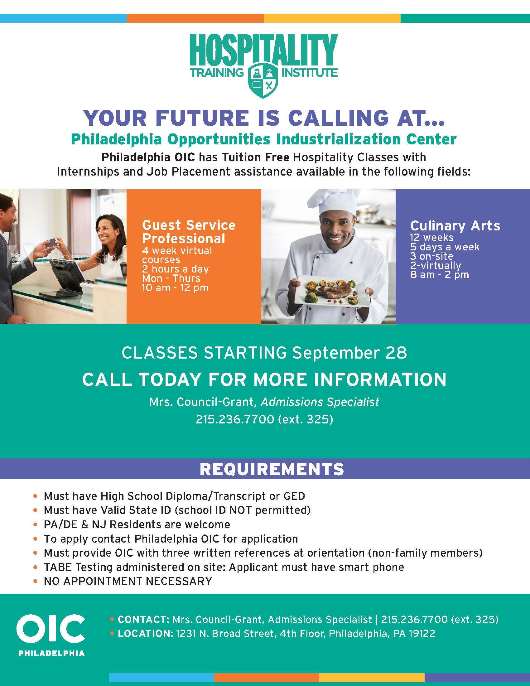 We are recruiting for our FREE Hospitality Training Institute! Classes start on October 5th!
