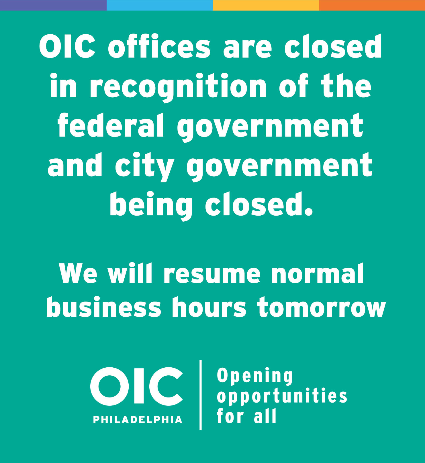 OIC Offices are closed on Monday, October 12, 2020