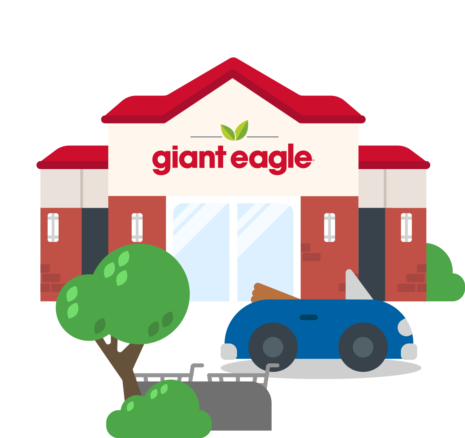 Illustration of a Giant Eagle supermarket with a blue sky background
