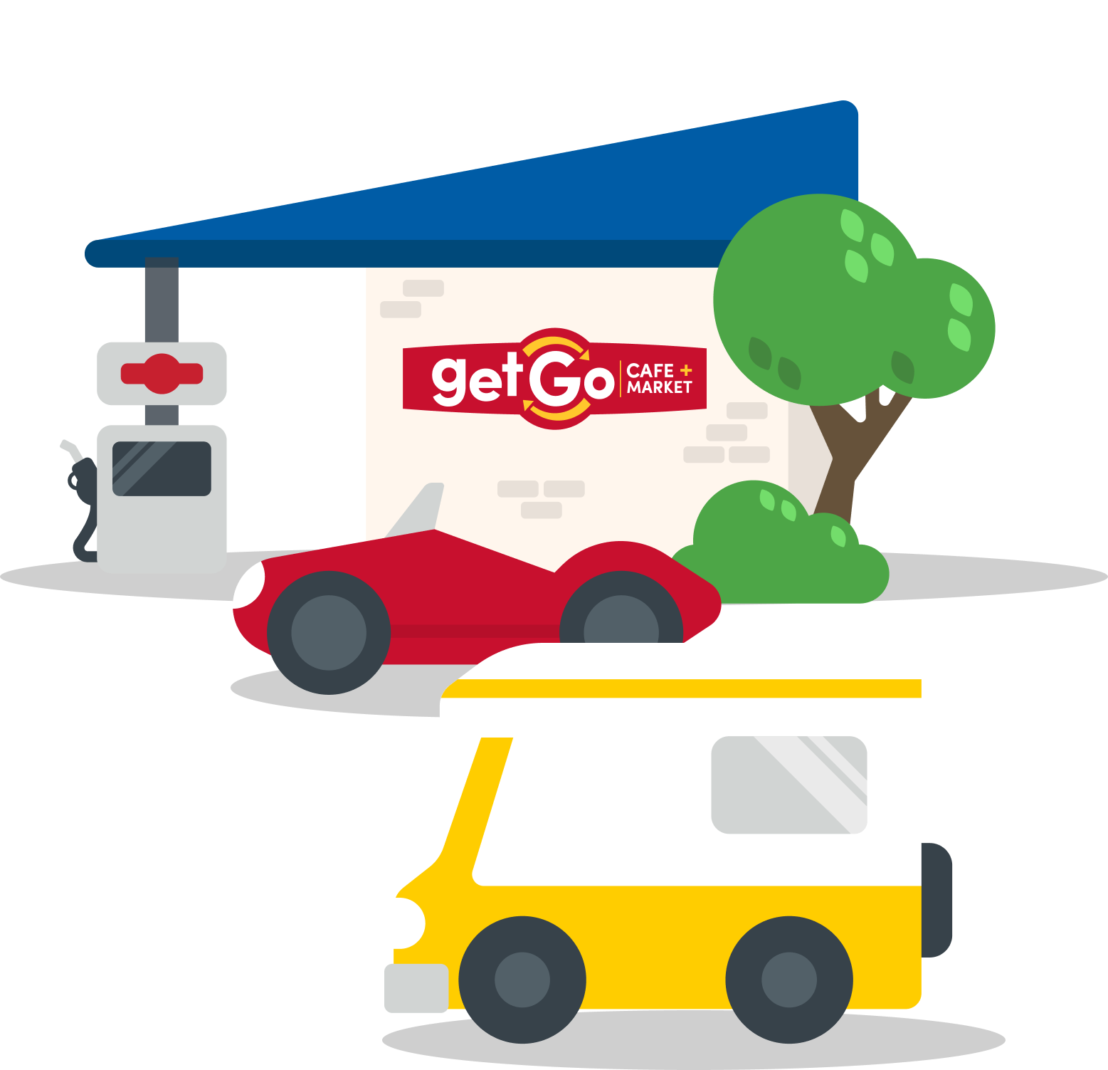 Illustration of GetGo Fuel Station with a blue sky background