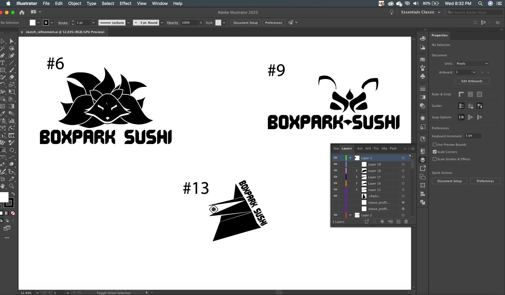 Screenshot of final three BoxPark Sushi logo iterations