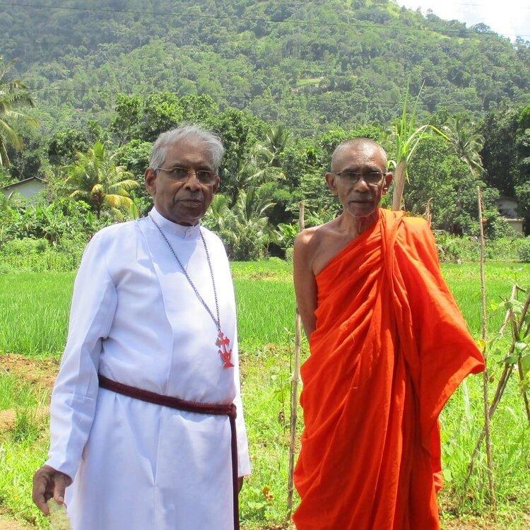 OMNIA's National Coordinator in Sri Lanka, Bishop Kumara Illangasinghe with Ven. Senapura Sumana Thero at the vegetable nursery.