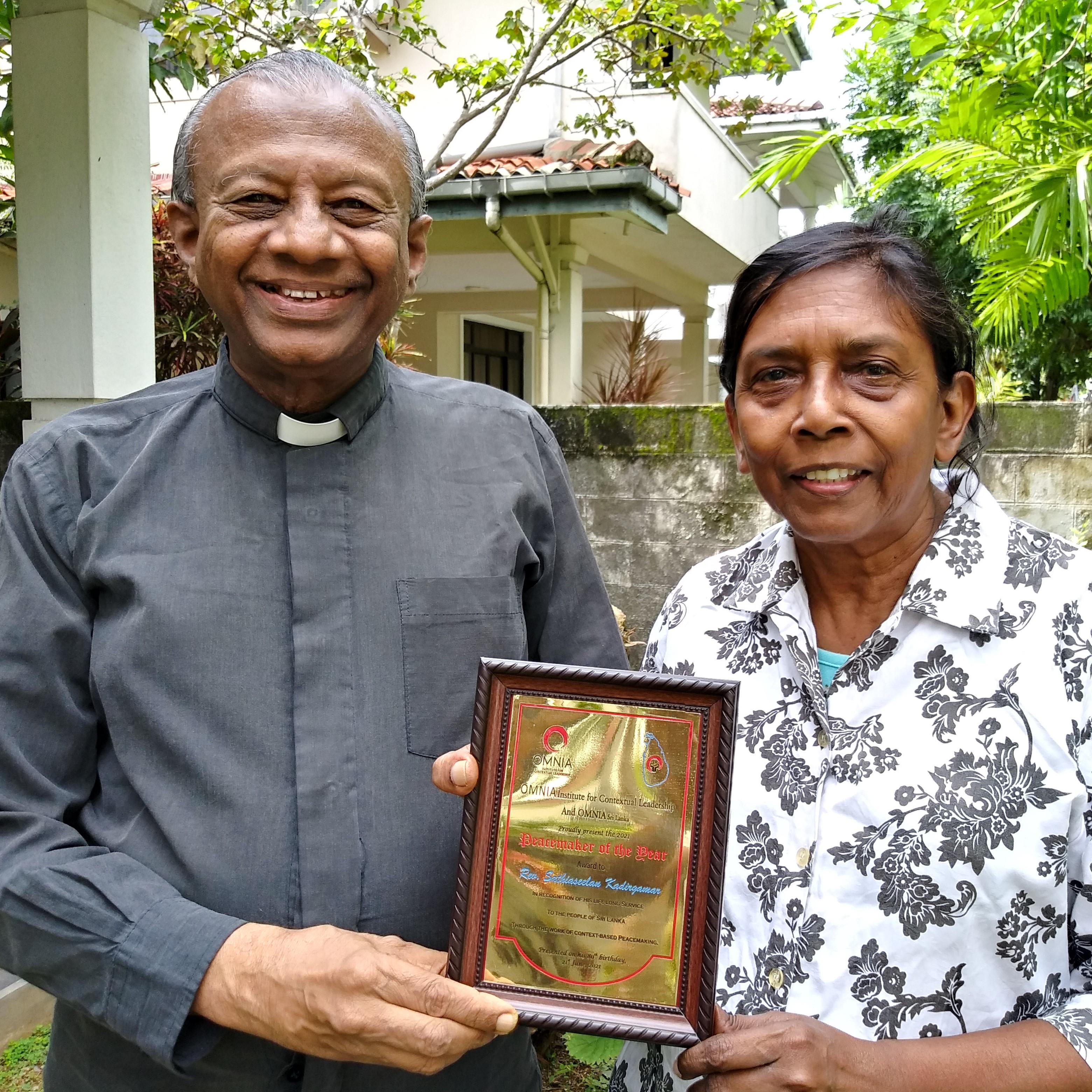 Rev. Sathian Kadirgamar Receives 2021 Peacemaker of the Year Award (Sri Lanka)