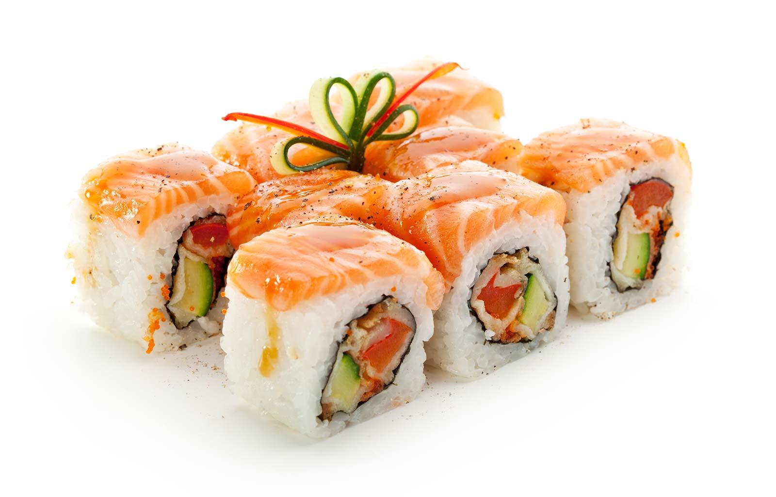 A six-set of sushi rolls