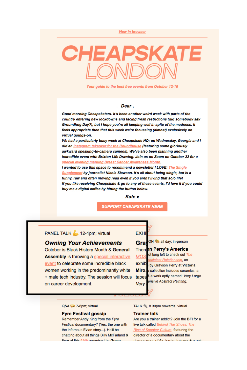 free events london