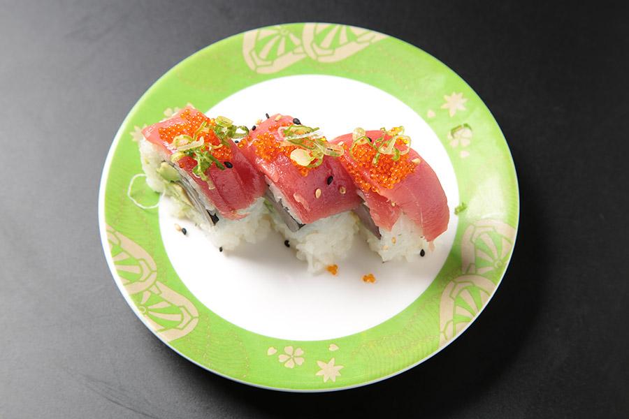 9 pcs hamachi avocado roll topped with tuna, tobiko & green onions
