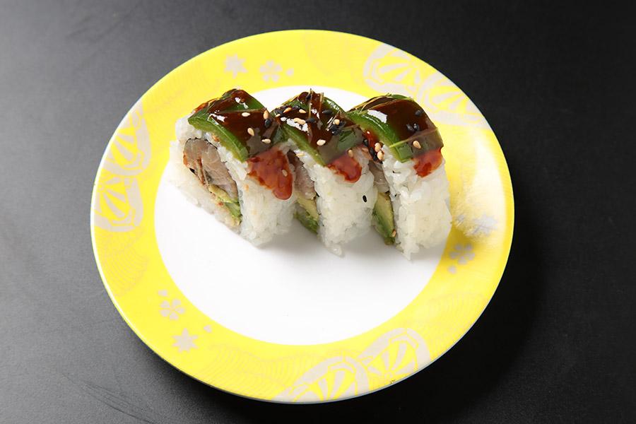 9 pcs eel, albacore & avocado roll topped w/ jalapeños