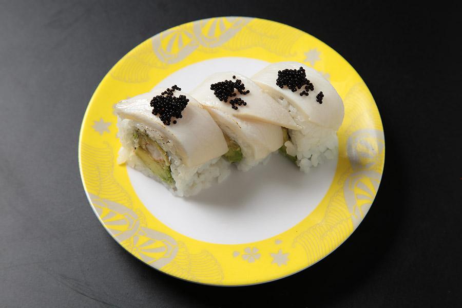 9pcs shrimp tempura and avocado roll, topped w/ waru