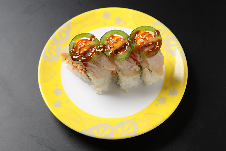 9 pcs spicy crab meat avocado roll topped w/ albacore, jalapeños seared w/ spicy sauce