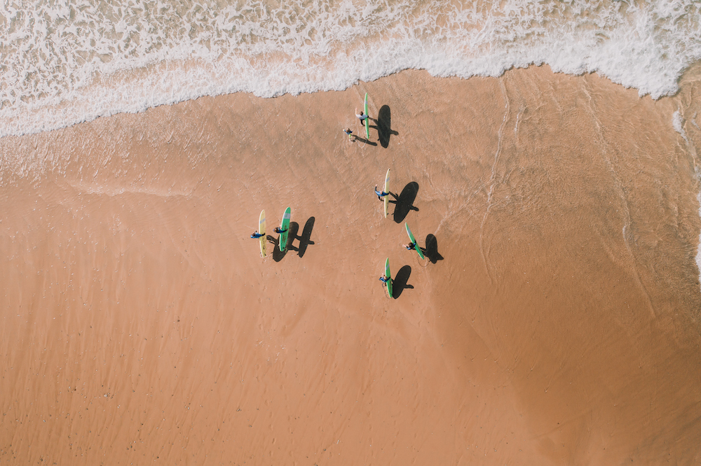 newquay surf school aerial shot of lessons