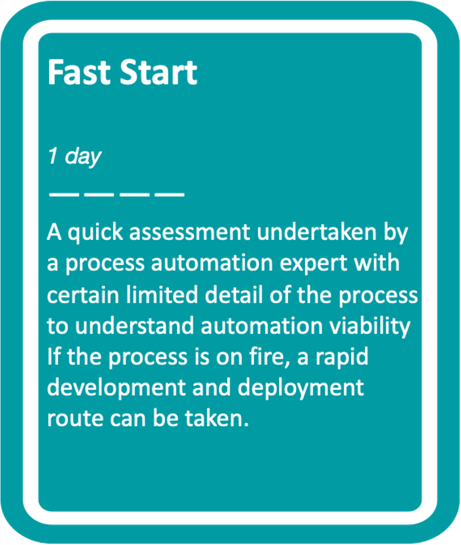 1 Day Fast Start - a quick assessment undertaken by a process automation expert with certain limited detail of the process to understand automation viability.  If the process is on fire, a rapid deployment route can be taken.